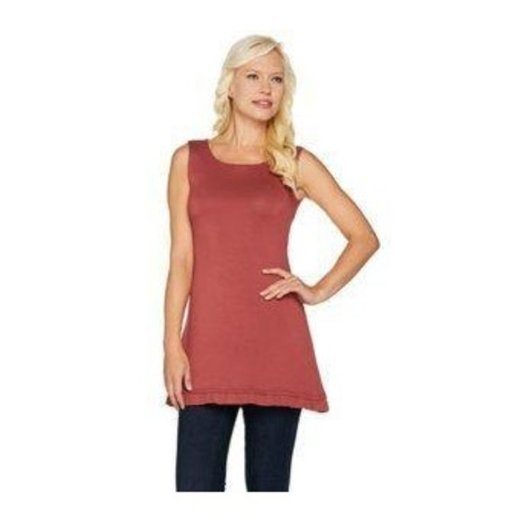 LOGO Layers Knit Ruffled Hem Tunic Tank Top XXS